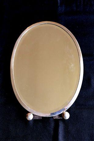 Espelho Oval em prata e madeira (antigo)