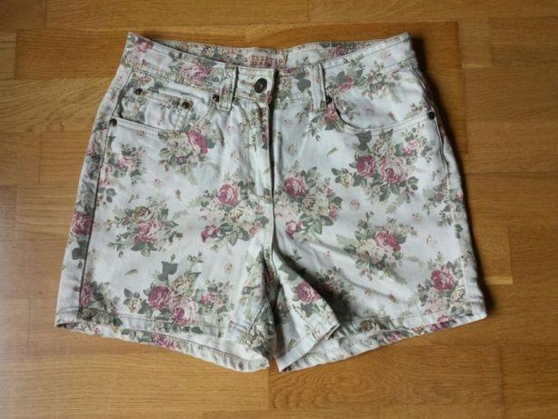 Spodenki jeans w kwiaty