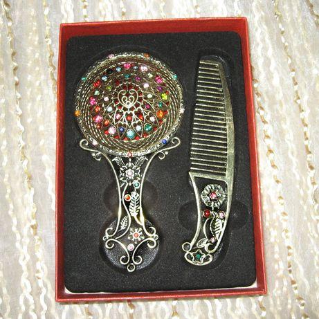 Набор для девочки зеркало и расческа с яркими камнями подарок