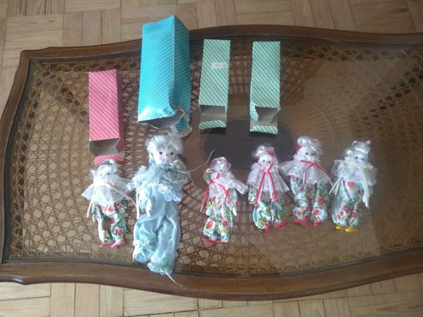 6 bonecos pierrot de porcelana