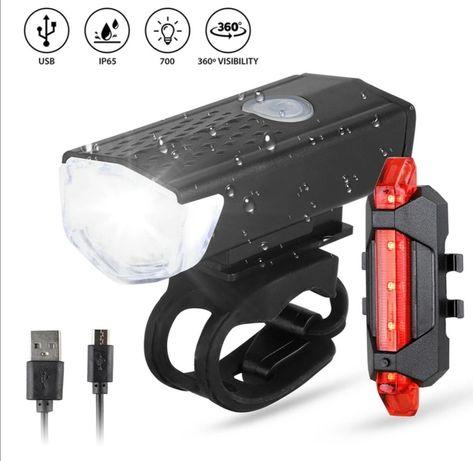 LAMPA ROWER LED przód tył akumulator zestaw.