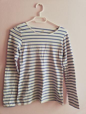 Biała bluzka w niebieskie paski H&M, rozmiar 158-164 cm, XS/34