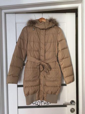 Стёганая демисезонная теплая зимняя пуховая куртка парка пуховик XS