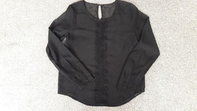 Bluzka koszulowa czarna, półprzeźroczysta, r. M/38