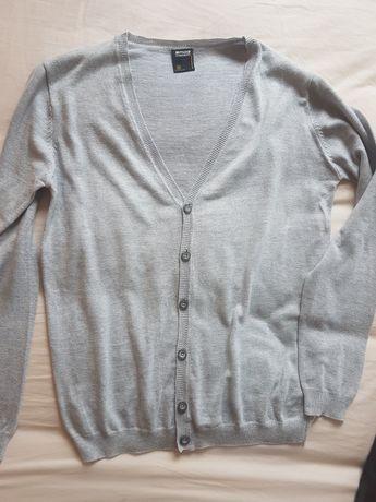 Sweter meski rozpinany popielaty