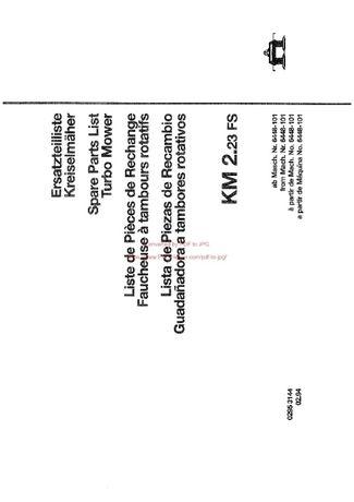 Katalog części kosiarka Deutz fahr KM 2.23 FS
