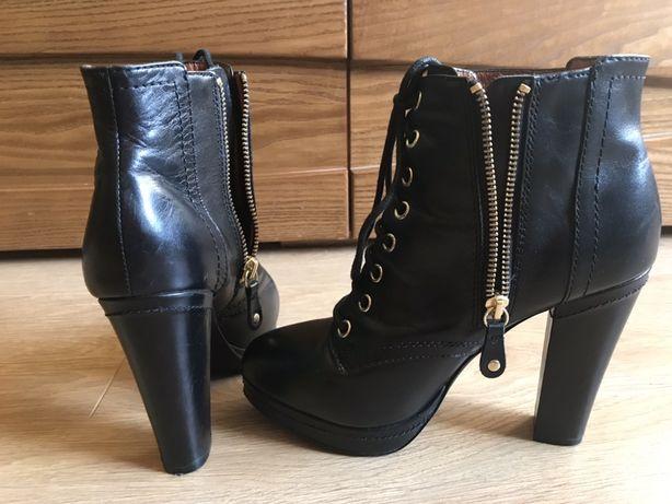 Чёрные ботинки/ботильоны на каблуке H&M весна, кожа 38.