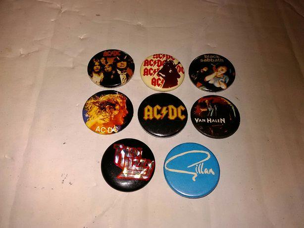 Pins bandas rock anos 80-coleção de 9