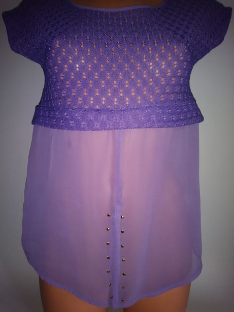 Fioletowa koronkowa bluzka 38roz