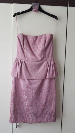 Sukienka z baskinką na wesele,chrzciny,studniówka rozmiar S brudny róż