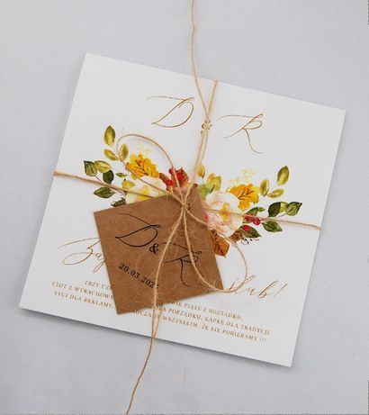 Zaproszenie ślubne jesienne pomarańczowe liście kwiaty