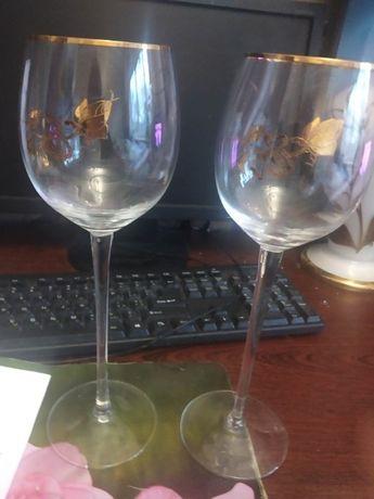 Фужеры коллекционные Чехия с золотой розой цена за 2 штуки высота 28с