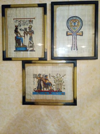 Картины из папируса в рамках, под стеклом. Египет.