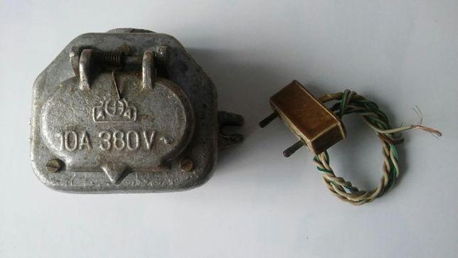 Stare gniazdo siłowe 10A 380V + wtyczka , metalowe , może PRL, retro
