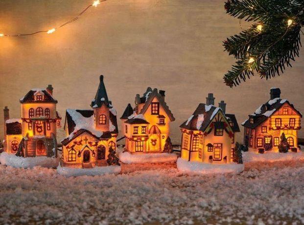 Новогодний Декор, Гирлянда, Рождественские домики LED 5