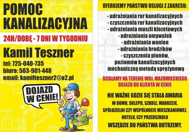 Udrażnianie Rur Kanalizacij Przegląd Kamerą Inspekcyjną 24h/7