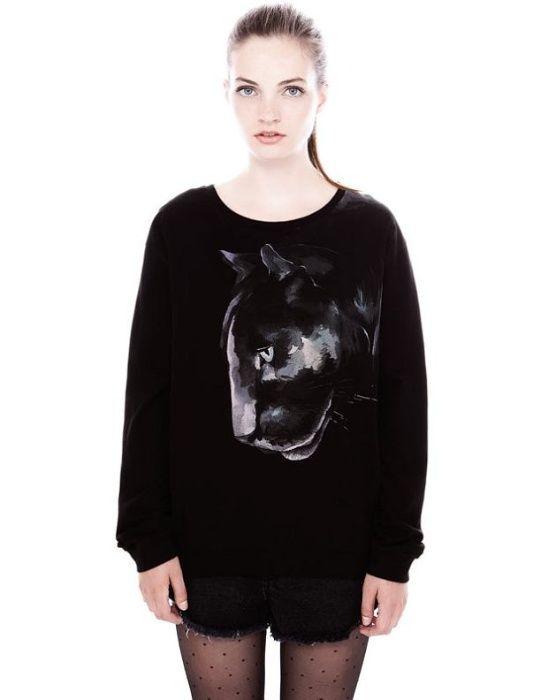 Pull&Bear czarna bluza cienka pantera nadruk S 36 M 38 L 40 Wrocław - image 1