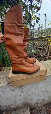 Рижие зимние ботинки високие кожание