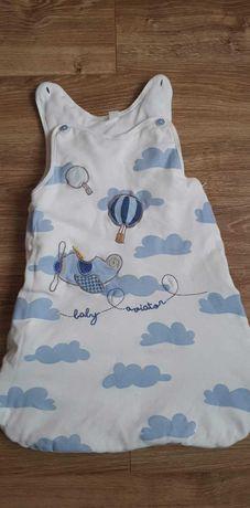 Śpiworek niemowlęcy chmurki samolot coolclub 0-6 msc do spania