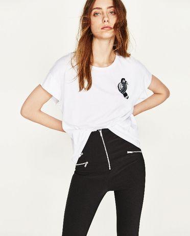 Bluzka Zara rozm.38/M biała aplikacja stan jak nowa