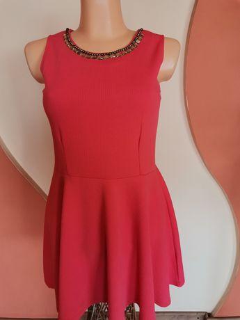 Sukienka wizytowa malinowa czerwień 40,42 j nowa 18stka wesele komunia