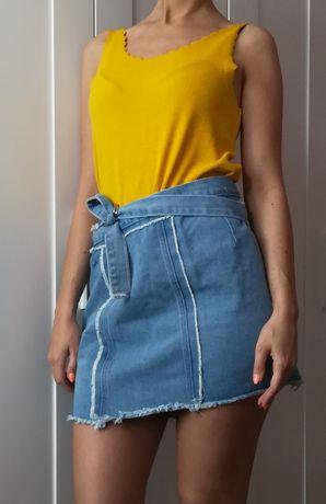 Spódniczka jeansowa vintage strzępiona asymetryczna S M L