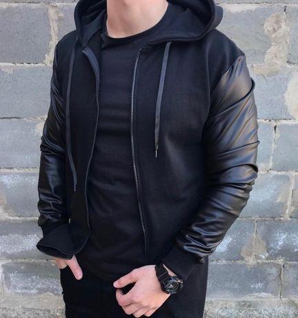 Бомбер мужской кожаный / куртка осенняя весенняя легкая / кофта