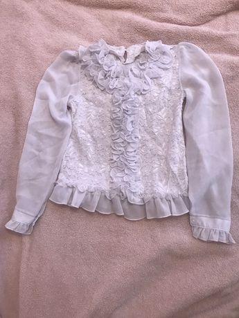 Блуза в школу нарядная белая рюши для девочки 140 рост