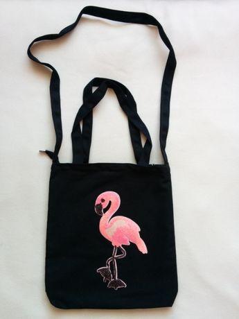 NOWA czarna torba z różowym FLAMINGIEM