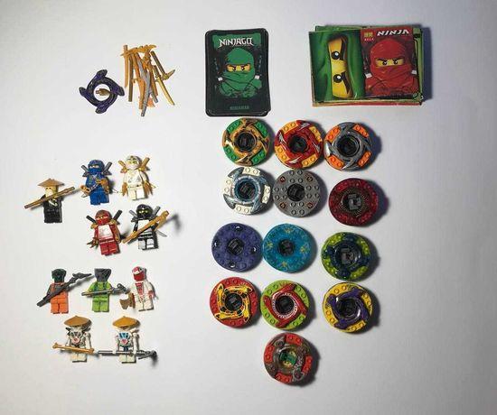 Конструктор, аналог lego ninjago: 10 фигурок, 13 спинеров, аксессуары.