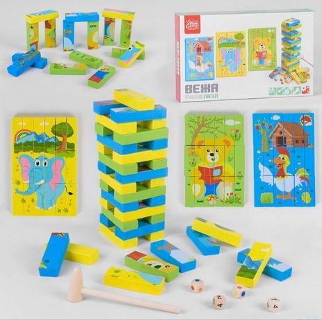 Деревянная игра Вега, Дженга, Башня, Джанга пазл 2в1, 54 бруска