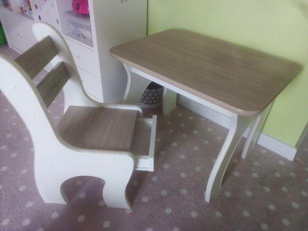 Biurko dziecięce jasny dąb białe przedszkolaka otwierany blat