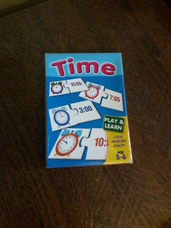 Gra - układanka dla dzieci. Zegary i słowa- układam i czytam.