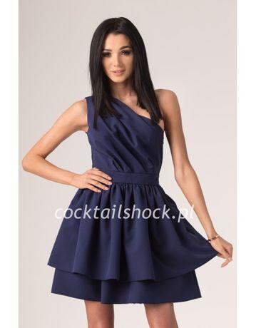 Sukienka Coctail shock na jedno ramię, granatowa, na wesele S/M 36