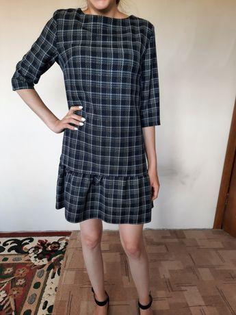 Клетчатое синее платье 44