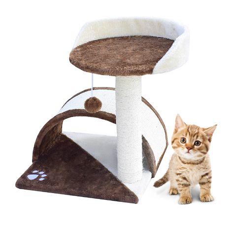 Drapak dla kota mały Legowisko+Budka biało-brązowy 17042