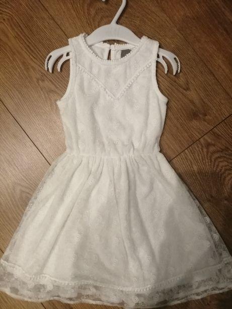 Biała ekegancka sukienka wesele chrzest święta LATO rozm 104