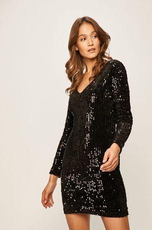 Платье новогоднее блестящие пайетки с длинным рукавом черное  Only