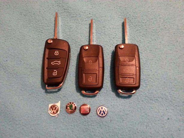 Carcaça capa comando chave audi seat vw skoda com emblema