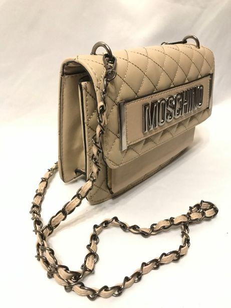 MOSCHINO torba kuferek elegancka beżowa