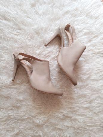 Buty skorzane w kolorze bezowym RYŁKO NOWE