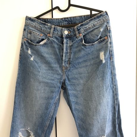 Luźne jeansy H&M 38 M 36/38 dziury jasne dżinsy relaxed boyfriend