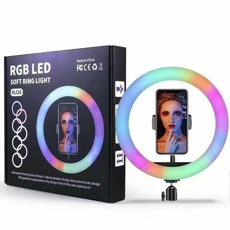 Кольцевая светодиодная цветная лампа со штативом 26см. ,33,36,38,45см