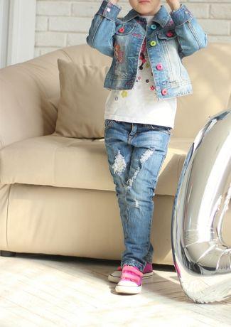 Набор костюм 4-5 лет джинсы и джинсовая куртка рост 104