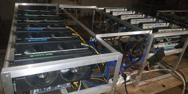 Майнинг ферма на 12 карт Sapphire Rx480 nitro+