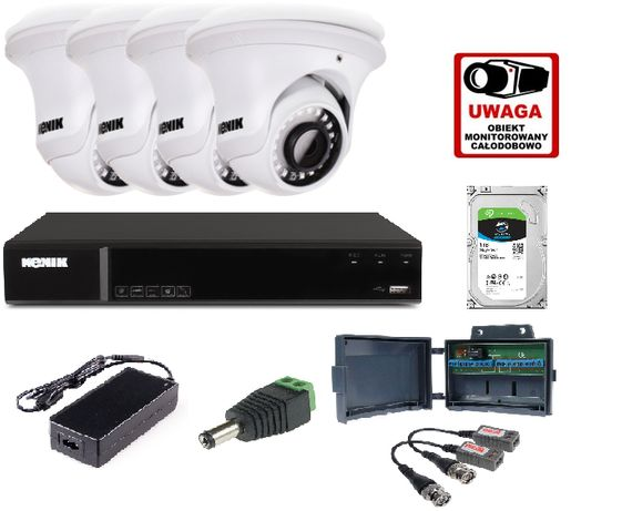 Zestaw monitoringu Kenik 4 kamery + możliwy MONTAŻ