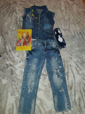 Джинсовый костюм девочке