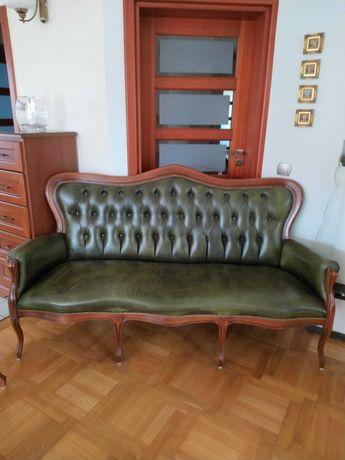 Wypoczynek sofa i cztery fotele stylowe, stylizowane, drewniane, skóra