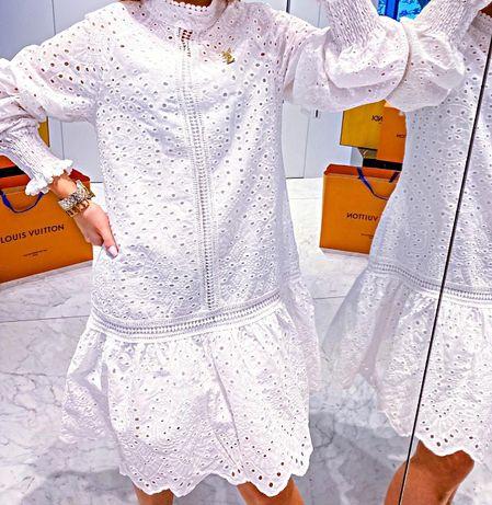 Biała sukienka boho dziurkowanie S M