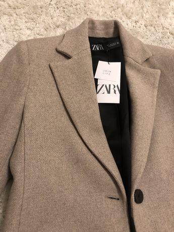 Пальто шерстяное бежевое Zara (Зара)